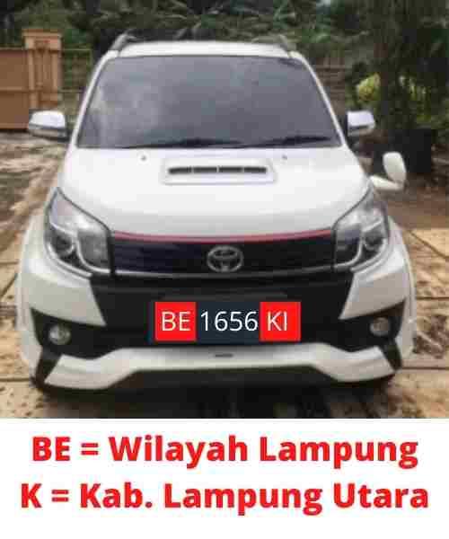 Kode Plat Nomor BE Kab Lampung Utara